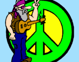 Coloring page Hippy musician painted bylela