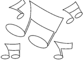 Coloring page Musical notes painted byk´~o[çlçllçlki