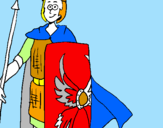 Coloring page Roman soldier II painted bysusan