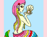 Coloring page Mermaid and pearl painted bysophie