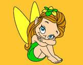 Coloring page Fairy sitting painted byheavenly