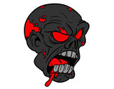 Coloring page Zombie Head painted byheavenly