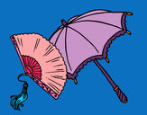 Coloring page Fan and umbrella painted byZairalove