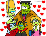 Coloring page Family of monsters painted bydelima
