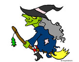 Coloring page Witch on flying broomstick painted bymajja