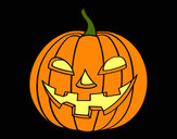 Coloring page Evil pumpkin painted bycolorana