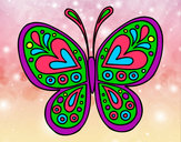 Coloring page Butterfly mandala painted byBrittany
