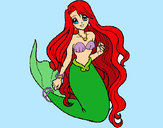 Coloring page Little mermaid painted byhivebees