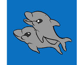 Coloring page Dolphins painted bykoekie