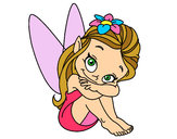Coloring page Fairy sitting painted byKynKyn