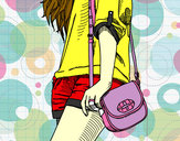 Coloring page Girl with handbag painted bymolly