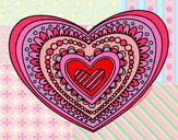 Coloring page Heart mandala painted bymolly