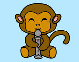 Coloring page Flautist monkey painted byChloe