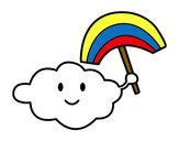 Coloring page Cloud with rainbow painted bykiana