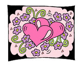 Coloring page Hearts and flowers painted bypenguin