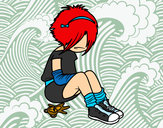 Coloring page Emo girl painted bykourichi23