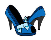 Coloring page Shoes with bow painted bykourichi23