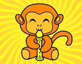 Coloring page Flautist monkey painted byPhoebe