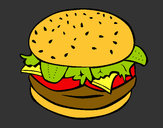 Coloring page Hamburger with everything painted byshersdesti