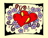 Coloring page Hearts and flowers painted byangel2425