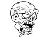 Coloring page Zombie Head painted bycema1cema