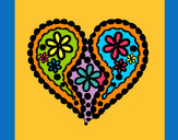 Coloring page Heart of flowers painted byterri