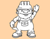 Coloring page Construction worker painted bybabis