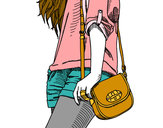 Coloring page Girl with handbag painted bylovecutie