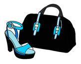 Coloring page Handbag and shoe painted byChoo