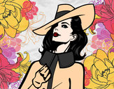 Coloring page Sophisticated woman painted byMandy