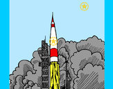Coloring page Rocket launch painted bykare