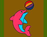 Coloring page Dolphin playing with a ball painted byArijit