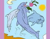 Coloring page Dolphins playing painted bySherry
