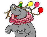 Coloring page Elephant with 3 balloons painted byadricasa