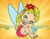 Coloring page Fairy sitting painted byadricasa