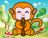 Coloring page Flautist monkey painted byFilinguim