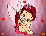 Coloring page Fairy sitting painted bymolly13