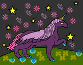 Coloring page Unicorn looking at the stars painted byphoenix
