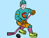 Coloring page Ice hockey player painted byems76