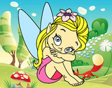 Coloring page Fairy sitting painted byPolly