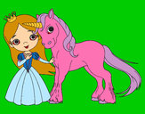 Coloring page Unicorn and princess painted byphoenix