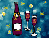 Coloring page Champagne and glasses painted byjeweled95