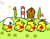 Coloring page Chicks painted byCarmen