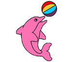 Coloring page Dolphin playing with a ball painted byCarmen