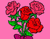 Coloring page Bunch of roses painted bybella