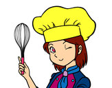 Coloring page Girl-chef painted bybella