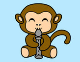 Coloring page Flautist monkey painted byBigricxi