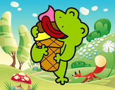 Coloring page Frog with a ice cream painted byMaryy_Pika