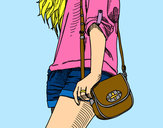 Coloring page Girl with handbag painted byBigricxi