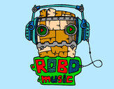 Coloring page Robot music painted byBigricxi